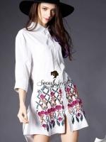Flora Embroider Shirt Dress