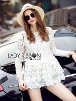 Lauren Summery Feminine Floral Lace Blouse in White