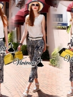 Face ladiest print pants set