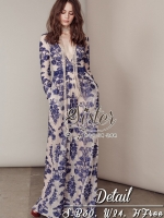 Beauty Blue FLower Elegant White Lace style Lady Flora
