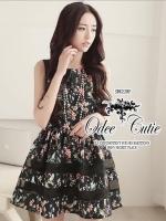 Sweet florals organza strip dress