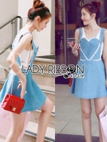 Lindsay Heart-Shaped Overall Denim Dress