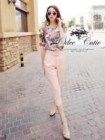 Pink season fan print and harem pants