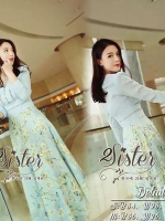 Blue Maxi Korean White Lily Flower Dress