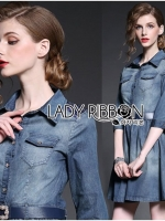 Lady Vanessa Country Feminine Denim Shirt Dress with Embellished Belt