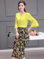 Yellow House of Flowers Shirt + Skirt Set