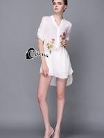 Simplicity Water Print Floral Shirt Dress