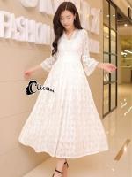 Shyna Luxury Pure White Lace Dress