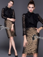 Clodia Ribbon Lace Shirt + Tiger Line Skirt Set