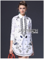 Annie Smart Casual Monochrome Embroidered Shirt Dress