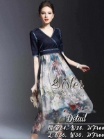 Korea Vintage with Navy Color Dress