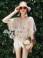 See-Through Embroidered Knit Lace Blouse