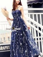 Diamond Dustly Navy Maxi Dress