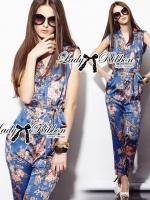 Floral Printed Sleeveless Shirt Jumpsuit