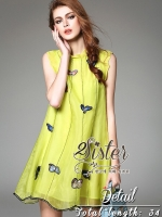 Vintage Dress with Mini Colorful Butterflies
