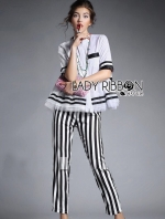 Alica Super Chic Peplum Striped Shirt and Striped Pants Set