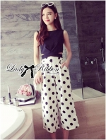 Cut-Out Cropped Top and Polka Dot Culotte