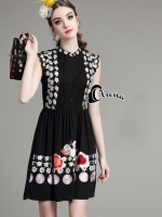Diva Embroidered Floral Line Black Dress