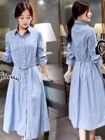 Evy Denim Long Shirt Dress