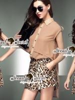 Leopard Girl Kaki@Black Chic Shorts Play Suit