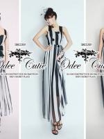 Monocrome strapless maxi dress