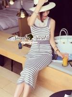 Chic Stripy bib Dress