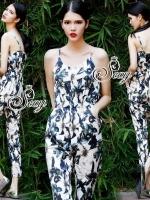 Sevy Spagetti Elastic Waist Flora Printed Jumpsuit