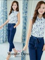 ชุดเข้าเซทสไตล์สาวเกาหลี ดีเทลเสื้อเชิ๊ตสีขาวเนื้อผ้า Cotton100%