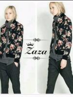 เสื้อคลุมทรงสวย พิมพ์ลายดอกไม้เต็มตัวและด้านหลังพิมพ์ลายนก ด้านหน้าดีเทลคอวี กุ้นขอบเสื้อ ซิปสั้น