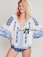 Dasha Relaxed Floral and Tribal Embroidered Cotton Top