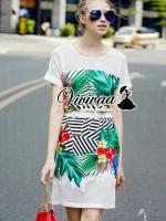 """I-Vivaa recommend """"Stylish leaf set"""" Fabric : เนื้อผ้าโพลีเอสเตอร์เนื้อนุ่ม Detail : เสื้อ + กระโปรง + งานพิมพ์ลาย Forest โทนสีสดสวย + งานเย็บต่อด้วยผ้า Net ที่ช่วงบ่าและชายกระโปรง สีสดสวยน่าใส่มากคะ"""