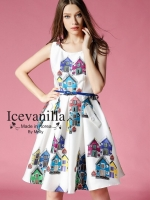 Feminine hitz big art printing long dress