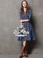 Embroidery denim dress