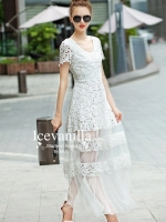 Hollow soluble 3D flower lace long Dress