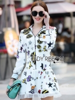 Kate Playful Chic Printed Peplum Shirt Dress