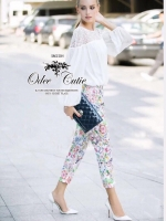 Zara lace blouse and print trousers