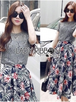 Lace Jumper and Floral Printed Midi Skirt Set