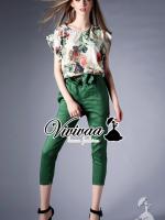 """Vivivaa recommend """"Romanian vintage greeny bow pants set"""" Fabric : เสื้อเนื้อผ้าโพลีเอสเตอร์ + กางเกงเนื้อผ้าคอตตอน Detail : เสื้อเก๋ๆ ด้วยเสื้อทรงแขนล้ำ เก๋ๆ ด้วยงานพิมพ์ลายสไตล์โรมัน ใช้โทนสีสไตล์วินเทจ ช่วงแขนเย็บจับจีบระบายนิดๆ ทรงเรียบเก๋สว"""