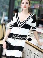 Stripy V collar nifty long dress