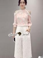 Pastel Pleatly Color Flora Lace Pants Set