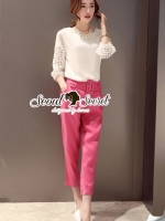 SakuraPink Color Pants Lace Blouse Set