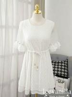 organza white lace stitch diamonds Dress