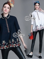 Embroidered Flora A Line Blouse