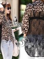 Sexy Leopard Chiffon Lacing Back Shirt