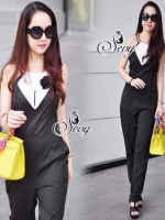 Sevy Hi Class Of Curve Smart Jumpsuit With Black Camellia Pin