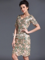 Angle vivid flower lace Luxury Dress