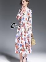 DG Long Sleeves Floral Line Printing Dress
