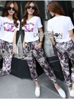 Chanel Vivid Floral Printed T-Shirt and Floral Printed Slouchy Pants Set