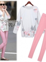 White Sweater Printing & Pink Skinny Set
