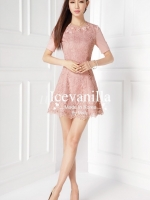 Vivid 3D pink lace stitch Diamonds Dress